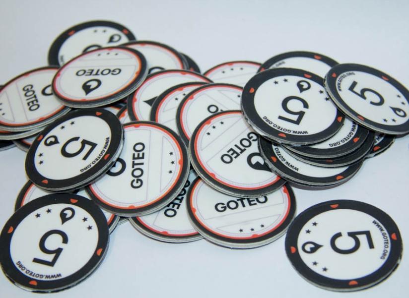 Goteo. Monedas de 5 gotas